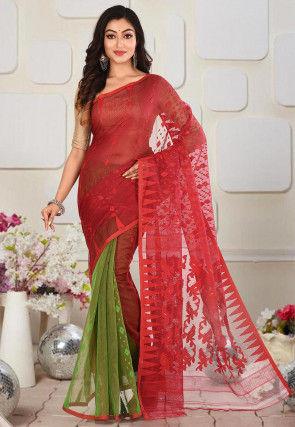 Handloom Cotton Silk Jamdani Saree in Red and Green
