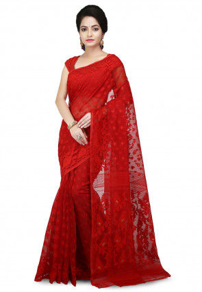 Handloom Cotton Silk Jamdani Saree in Red
