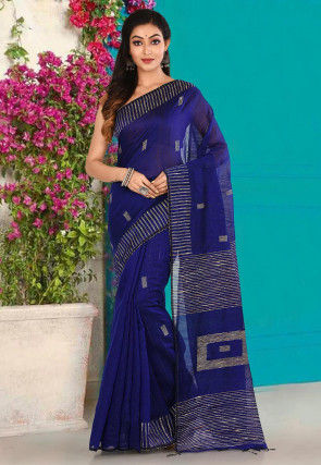 Handloom Cotton Silk Jamdani Saree in Royal Blue