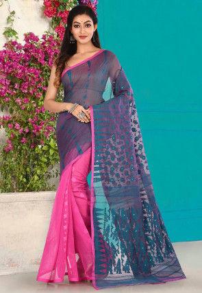 Handloom Cotton Silk Jamdani Saree in Teal Blue and Pink