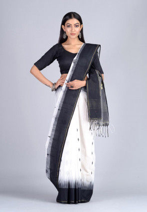 Handloom Cotton Silk Jamdani Saree in White and Black