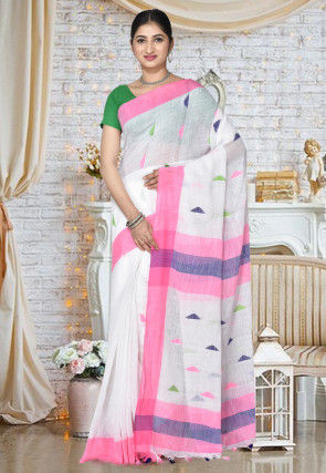 Handloom Cotton Silk Jamdani Saree in White