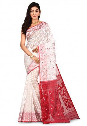 Handloom Cotton Silk Jamdani Saree in White