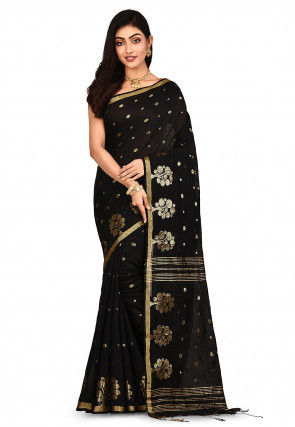 Handloom Cotton Silk Saree in Black