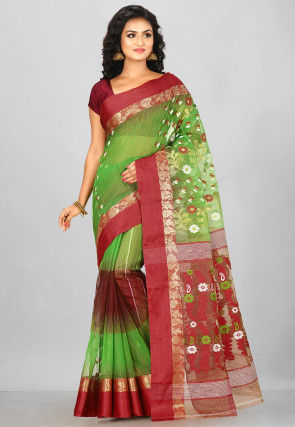 Handloom Cotton Silk Saree in Green and Red
