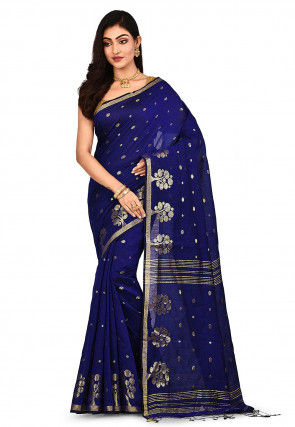 Handloom Cotton Silk Saree in Navy Blue