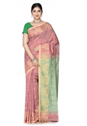 Handloom Cotton Silk Saree in Old Rose