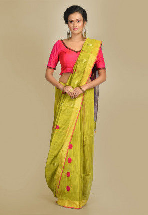 Handloom Cotton Silk Saree in Olive Green