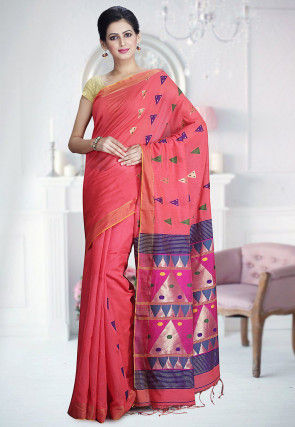 Handloom Matka Silk Saree in Peach