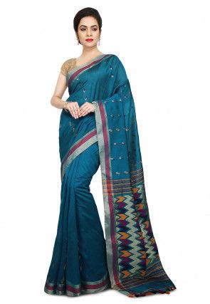 Handloom Cotton Silk Saree in Teal Blue