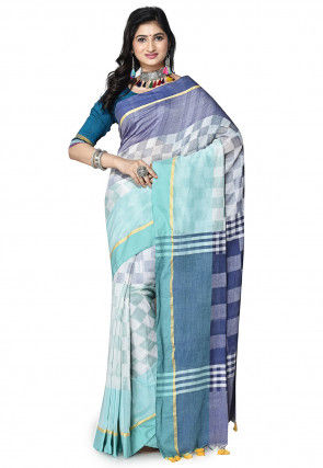 Handloom Cotton Silk Saree in White and Blue
