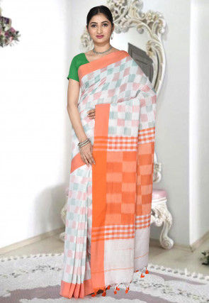 Handloom Cotton Silk Saree in White