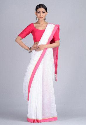 Handloom Cotton Silk Saree in White