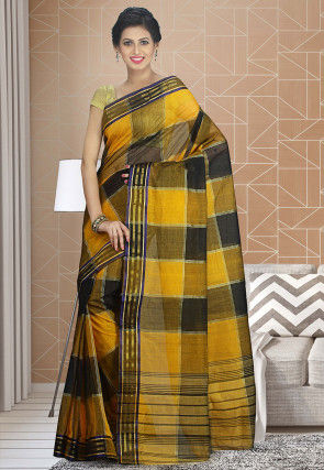Handloom Cotton Silk Tant Saree in Black and Yellow
