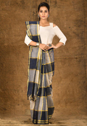 Handloom Cotton Silk Tant Saree in Navy Blue