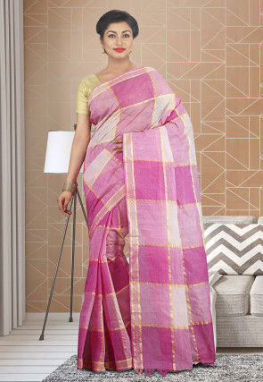Handloom Cotton Silk Tant Saree in Pink