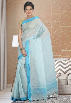 Handloom Cotton Silk Tant Saree in Sky Blue