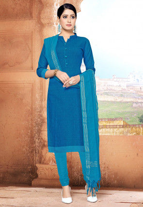 Handloom Cotton Straight Suit in Light Teal Blue