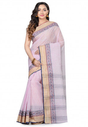 Handloom Cotton Tant Saree in Baby Pink