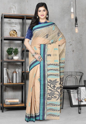 Handloom Cotton Tant Saree in Beige
