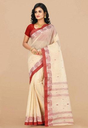 Handloom Cotton Tant Saree in Beige