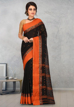 Handloom Cotton Tant Saree in Black
