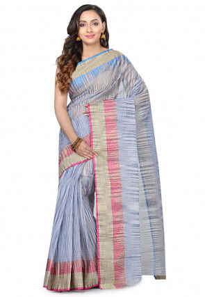 Handloom Cotton Tant Saree in Blue and Light Grey