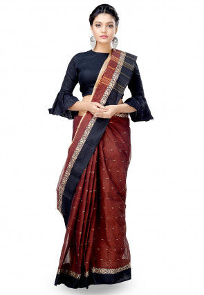 Handloom Cotton Tant Saree in Brown