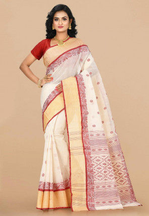 Handloom Cotton Tant Saree in Cream