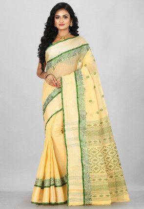 Handloom Cotton Tant Saree in Cream