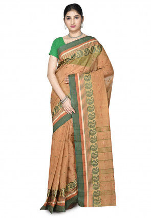 Handloom Cotton Tant Saree in Dark Beige