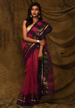 Handloom Cotton Tant Saree in Dark Fuchsia