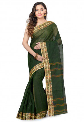 Handloom Cotton Tant Saree in Dark Green