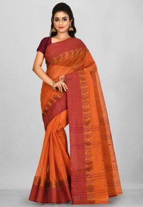 Handloom Cotton Tant Saree in Dark Orange