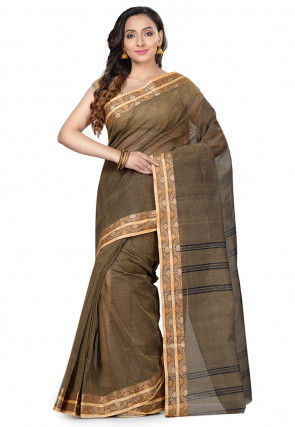 Handloom Cotton Tant Saree in Dusty Brown