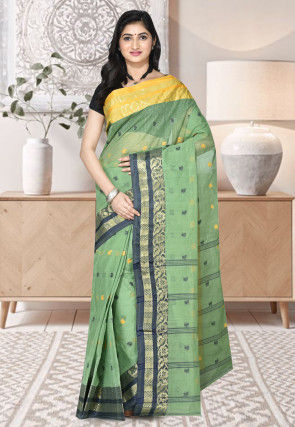 Handloom Cotton Tant Saree in Dusty Green