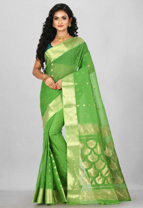 Handloom Cotton Tant Saree in Green