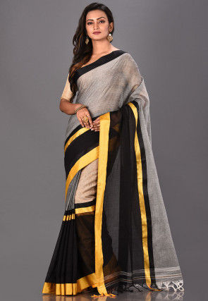 Handloom Cotton Tant Saree in Grey and Black