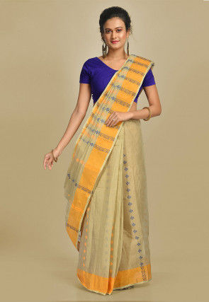 Handloom Cotton Tant Saree in Light Beige