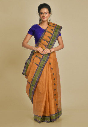 Handloom Cotton Tant Saree in Light Brown