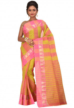 Handloom Cotton Tant Saree in Light Green and Pink