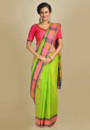 Handloom Cotton Tant Saree in Light Green