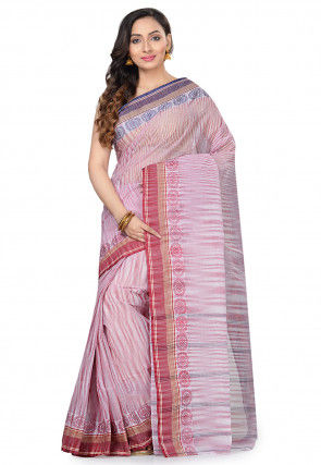 Handloom Cotton Tant Saree in Light Maroon and Off White