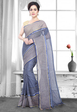 Handloom Cotton Tant Saree in Light Navy Blue