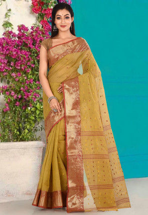 Handloom Cotton Tant Saree in Light Olive Green