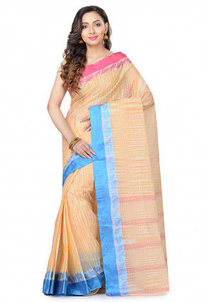 Handloom Cotton Tant Saree in Light Orange and Off White