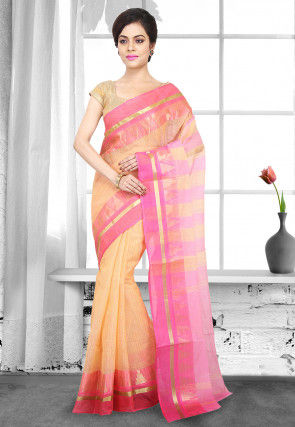 Handloom Cotton Tant Saree in Light Orange