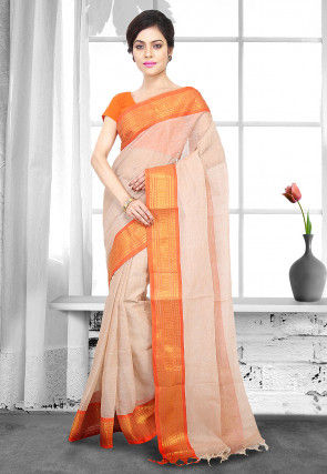 Handloom Cotton Tant Saree in Light Peach