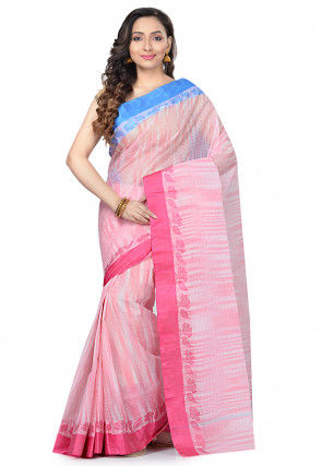 Handloom Cotton Tant Saree in Light Pink and Off White