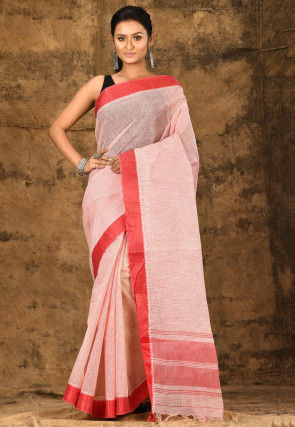 Handloom Cotton Tant Saree in Light Pink
